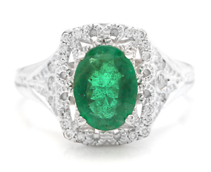 1-70Ct-Natural-Emerald-amp-Diamond-14K-Solid-White-Gold-Ring