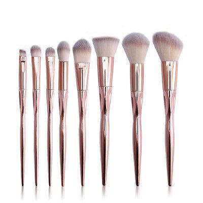 8PCS Make Up Brushes Set Contour Kabuki Foundation Eyebrow Face Powder Brush Set