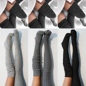 31848ed50 Women Lady Wool Warm Knit Over Knee Thigh High Stockings Socks ...