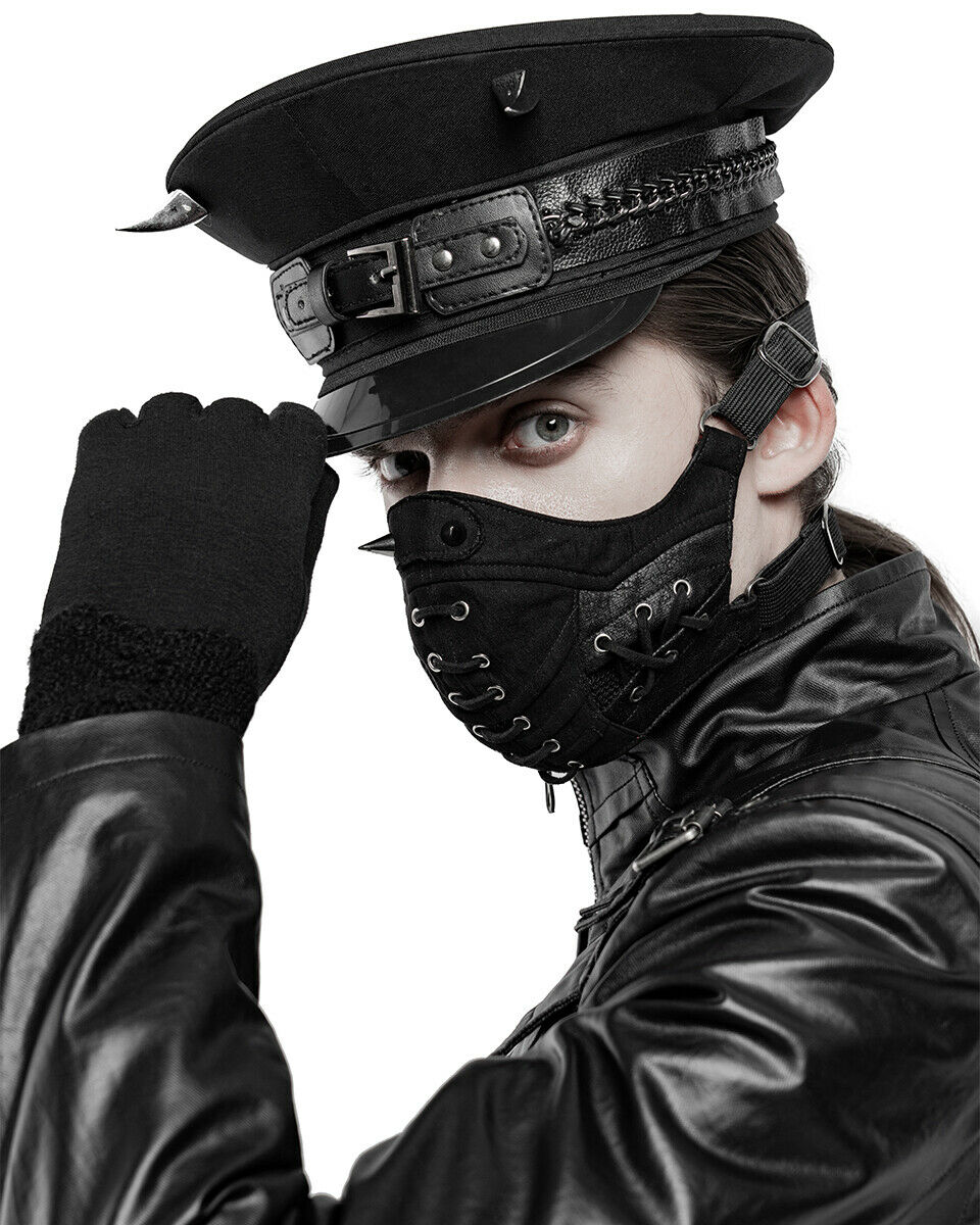 Punk Rave Mens Gothic Dieselpunk Mouthguard Face Mask Black Faux Leather Spiked
