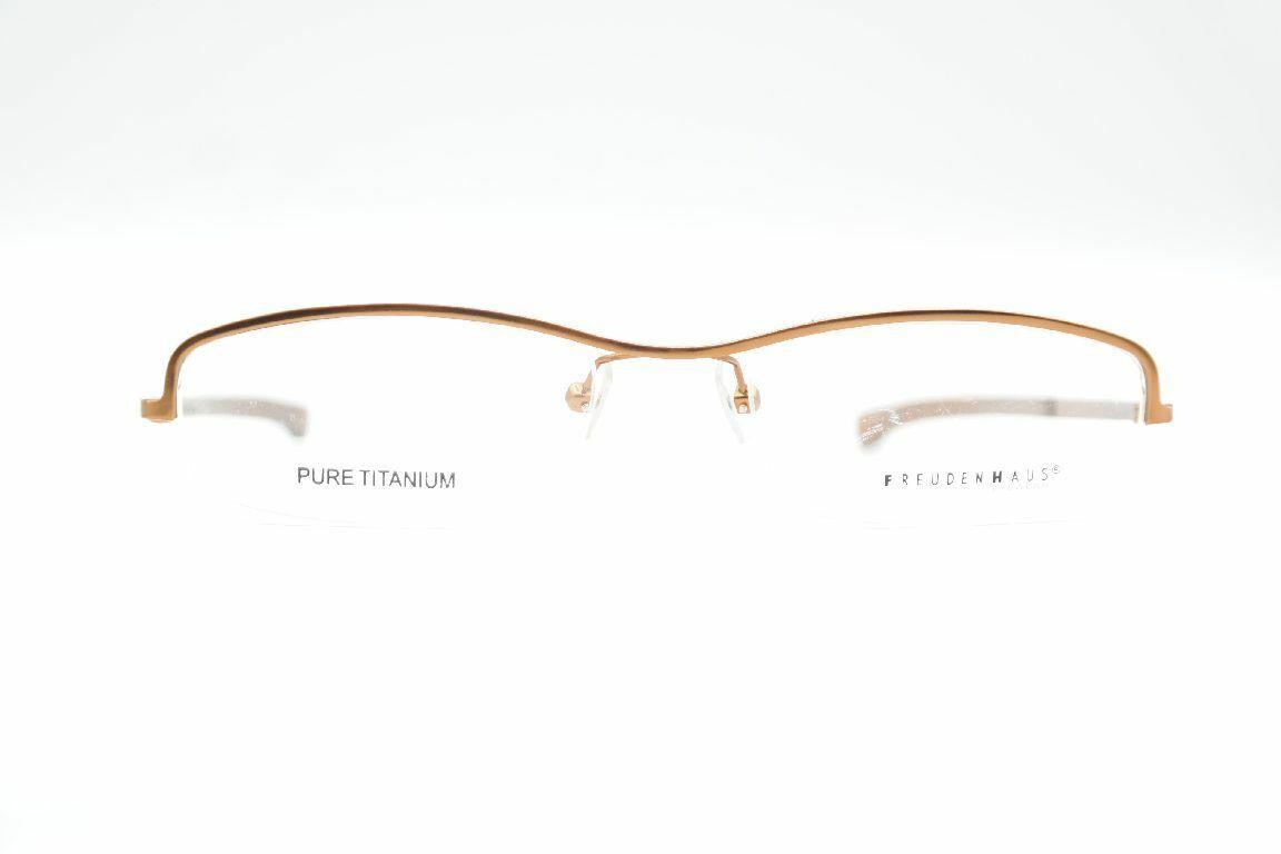 Freudenhaus Tim Tim Org Pure Titanium Braun halbrand Brille Brillengestell Neu