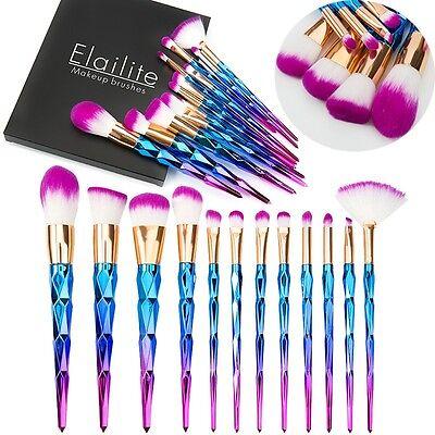 US 10Pcs Cosmetic Makeup Eyeshadow Brushes Set Foundation Powder Unicorn Tools