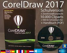 Corel Draw Graphics Suite 2017 Vollversion Box DVD Cliparts VBA Schulversion NEU