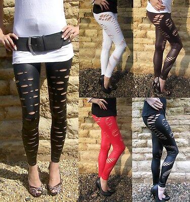 Ankle Length Leggings WET LOOK Ripped Slashed BLACK size 6 8 10 12 14 16 18 20