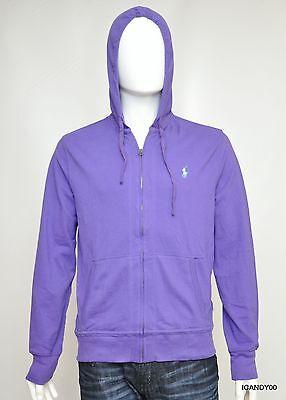 Nwt Ralph Lauren POLO Mesh Cotton Full Zip Hoodie Jacket Sweater Top ~Purple M