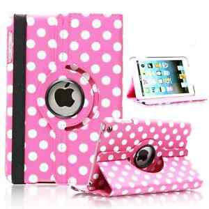 BABY-PINK-Fashion-Dots-Leather-360-Rotating-Stand-Case-Cover-For-iPad-2-3-4-UK