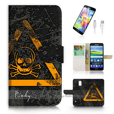 ( For Samsung S5 ) Wallet Case Cover Warning Sign P0524