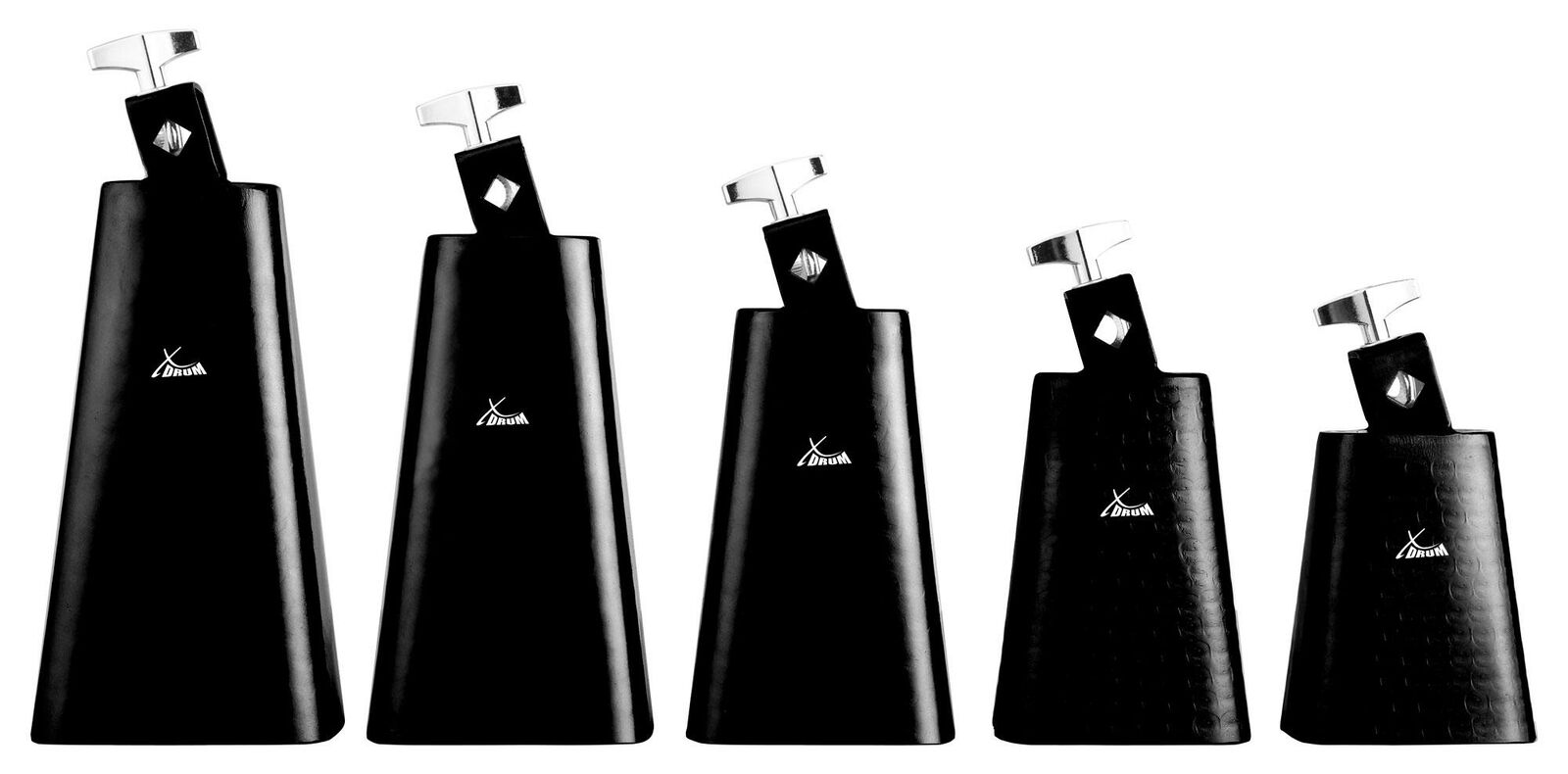 5x COWBELL PERCUSSION SET HAND HAMMErot BRUSHED STEEL FIVE GrößeS 4  5  6  7  8