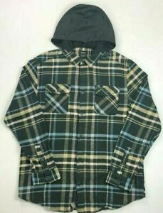 Men-039-s-RVCA-Hooded-Flannel-Shirt