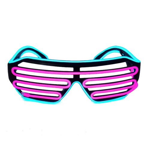 EL Wire Neon LED Shutter Sunglasses Shades Party Rave 3 Function Pink Blue