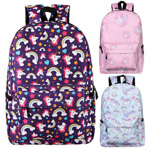 771556f4cb Image is loading Girls-Womens-Unicorn-Backpack-Rucksack-School-Travel- Shoulder-