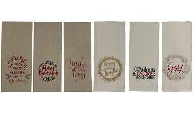 Set Of 6 100 Cotton Christmas Funny Quote Kitchen Towels Size 15 X 25 Ebay