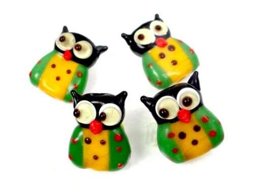 Yellow Green 4 Lampwork Handmade Glass Lovely Owl Beads