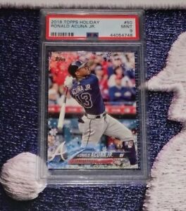 2018-Topps-Topps-Holiday-50-Ronald-Acuna-Jr-Bat-Down-RC-Rookie-Mint-PSA-9
