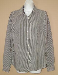 Van-Heusen-Womens-Size-Medium-Long-Sleeve-Black-Striped-Fall-Blouse-Top-Shirt