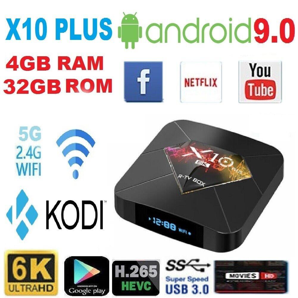 X10 Plus Smart TV Box Quad Core Android 9 0 HD 6K LED