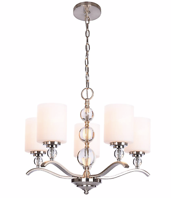 Laurel Hill 3 Light Brushed Nickel Chandelier with Opal Glass Shades and Glass Ball Accents