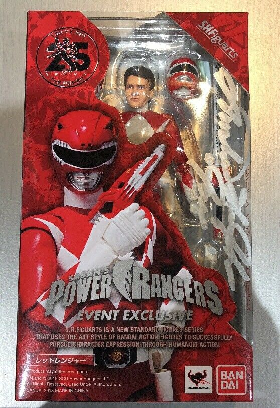 SIGNED S.H. Figuarts Power Rangers rosso Ranger 2018 SDCC Exclusive Comic Con MMPR