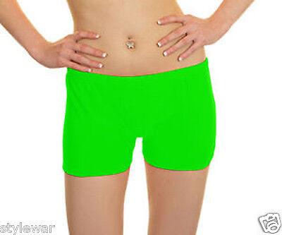 Ladies UV Neon Lycra Shorts Hot Pants Dance Party Casual Club Pant Uk Size 8-16