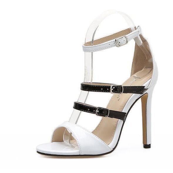 Sandale stiletto eleganti sabot 11 cm bianco nero simil pelle eleganti CW199