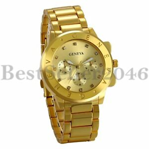 Luxury-Men-039-s-Watch-Gold-Tone-Stainless-Steel-Band-Quartz-Analog-Wrist-Watch-Gift