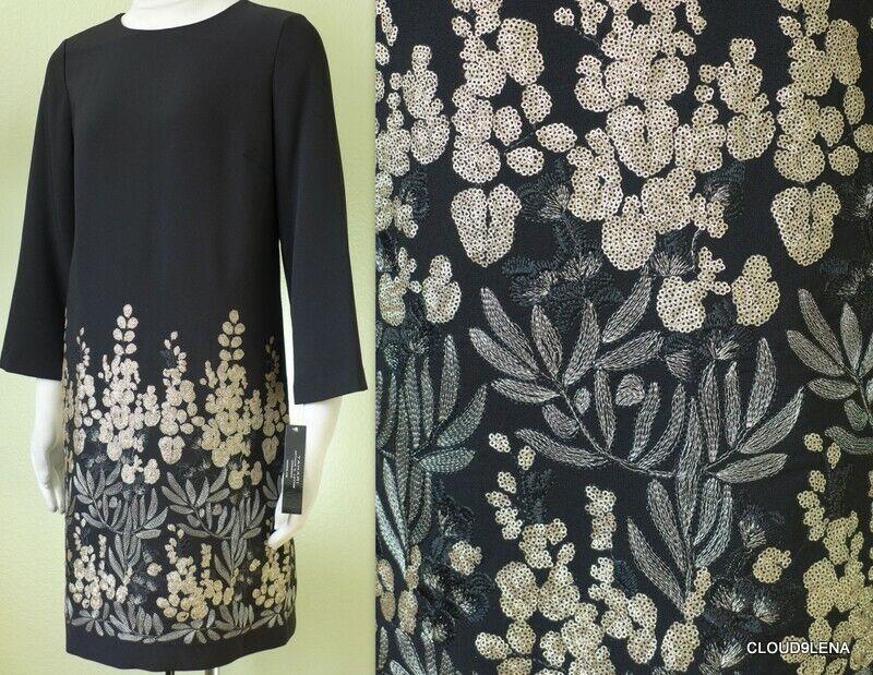 NWT TAHARI ASL gold Platinum Embroidery  3 4 Sleeve Shift Dress Size 4
