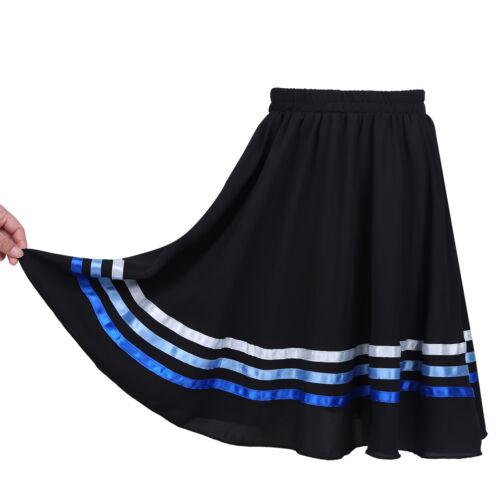 Girls Kids Full Long Circle Pleated Skirt Celebration Spirit Praise Dance Dress