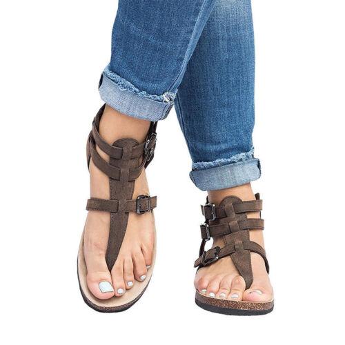 Womens Cork Sole Sandals Flip Flop Casual Straps T-Strap Thong Flat Shoes Size
