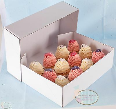 "4"" HIGH Heavy Duty White Cupcake Box & Tray. For 24 Cup cakes"