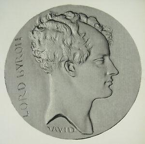 Antik-Print-Lord-George-Gordon-Byron-Medaillon-nach-David-D-039-Angers-c1850