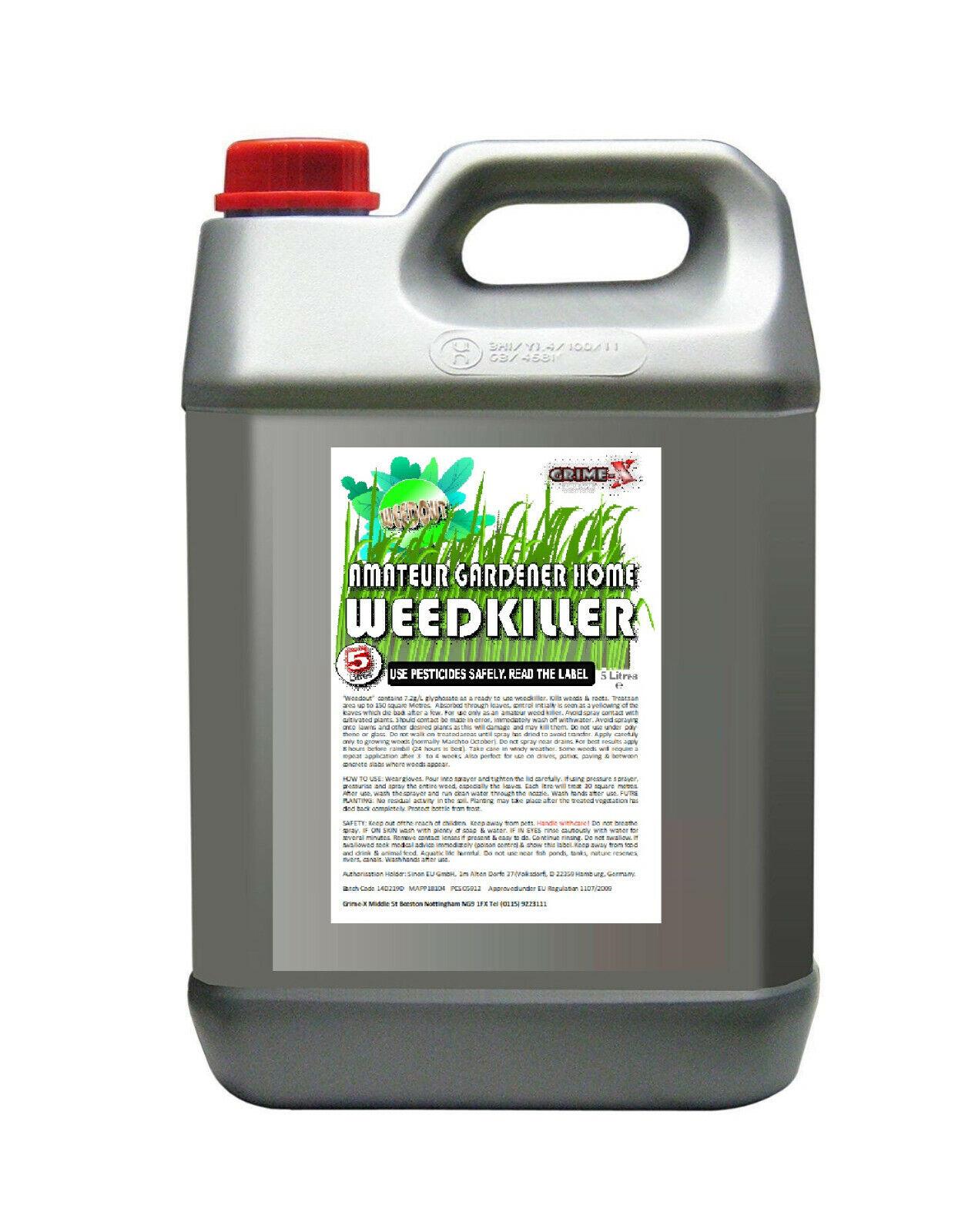 5 Litre WEEDOUT Garden Weedkiller Kill Weeds & Roots Fast Glyphosate / Sprayer