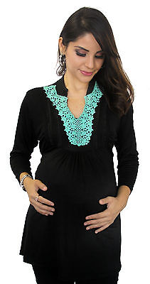 Blue Turquoise Embroidery Black Maternity Women's Long Sleeve Top Tunic S M L XL