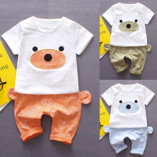 UK Infant Baby Boys Girls Bear Print Kids T-shirt Tops+Pants Outfits Clothes Set