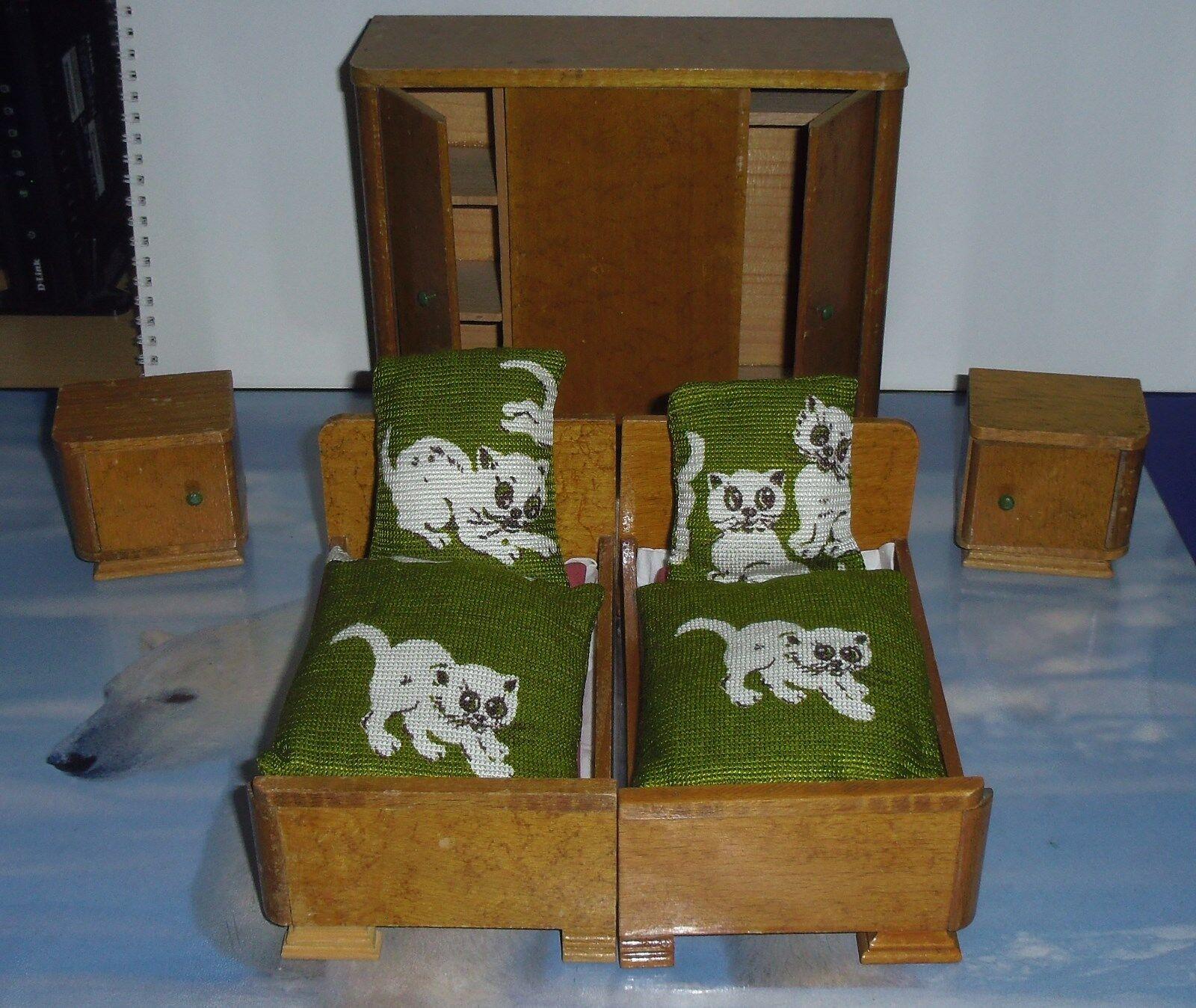 Schöne alte Puppenstuben Möbel - Schlafzimmer 9 9 9 Teile 45c34a ...