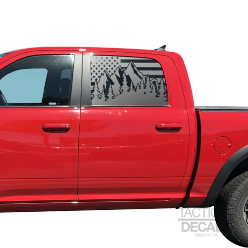 USA Flag w//Mountain Scene Decals for Ram 1500 Crew Cab window 2010-2018 QR2-RC1