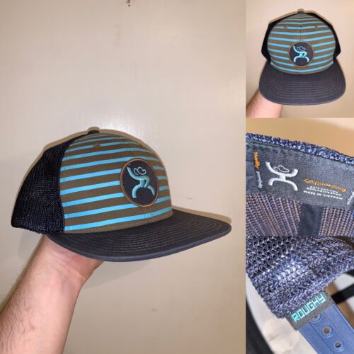 Hooey Hat Snapback One Size Fits All Striped Blue