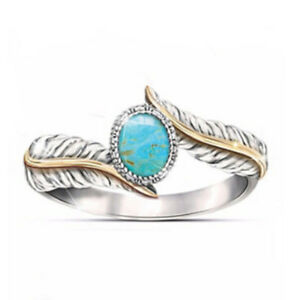 Magnificent-Women-039-s-Jewelry-Turquoise-Feather-Silver-Ring-Filled-Rings-Size-5-10