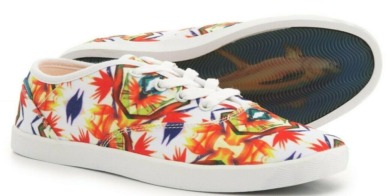 Blu Kicks Women's Shoes Size 7 Charlie Floral Lace Up Tennis Shoe Shark Sole