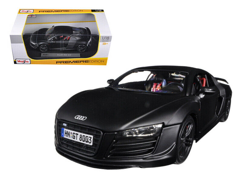 Audi R8 GT Matt Black 1 18 Diecast Car Model by Maisto