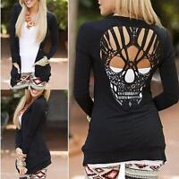 Women O Neck Long Sleeve Skull Backless Top Blouse Shirt Tee Jumper T-Shirt 8-14