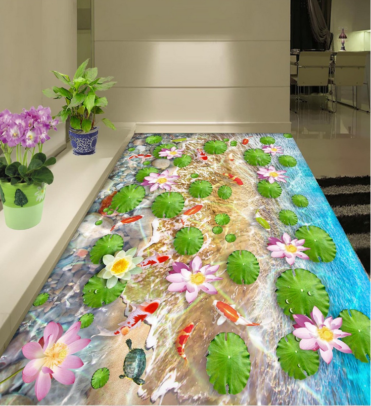 3D Fish Grün leaf 523 Floor WallPaper Murals Wall Print Decal 5D AJ WALLPAPER