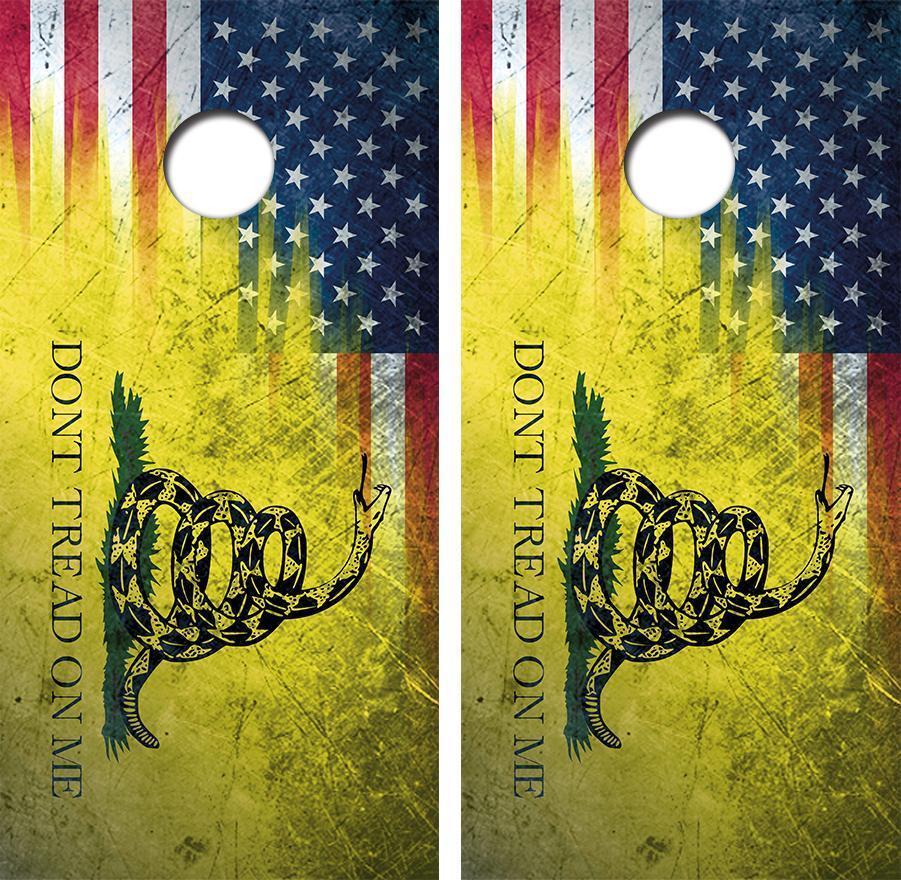 Grunge Don't Tread American Flag Cornhole Board Skin Wrap FREE SQUEEGEE