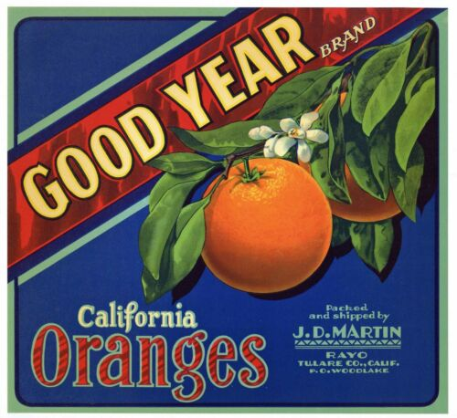 GOOD YEAR Vintage Tulare County Orange Crate Label **AN ORIGINAL 1940/'S LABEL**