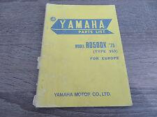 Yamaha Parts List Ersatzteilkatalog RD50DX ´75 353 catalogue Explosionszeichnung
