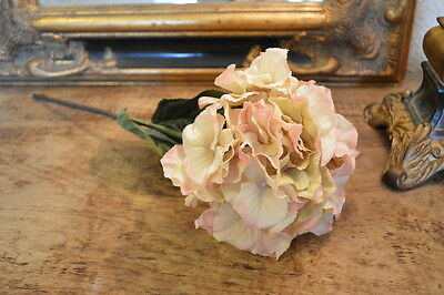 Pretty Antique Peach Hydrangeas, Individual Artificial Luxury Faux Silk Flowers