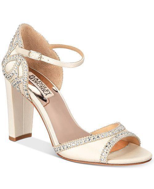 Badgley Mischka shoes Kelly Embelished Block Heel Evening Sandals Size 7  235