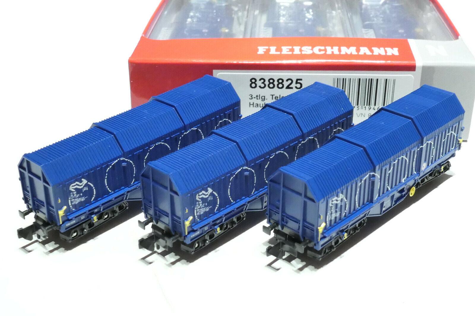 Fleischmann N NS 3x 4 ACH. coilwagen BLU 838825 NUOVO OVP