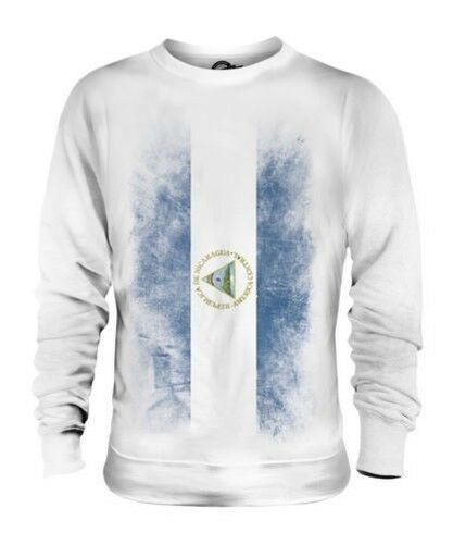 NICARAGUA FADED FLAG UNISEX SWEATER TOP NICARAGUAN SHIRT FOOTBALL JERSEY GIFT