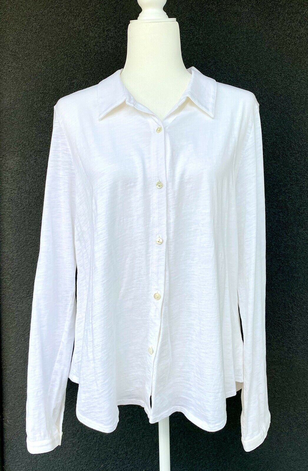 EILEEN FISHER Organic Cotton White Knit Button Up Shirt Blouse Womens Size Large