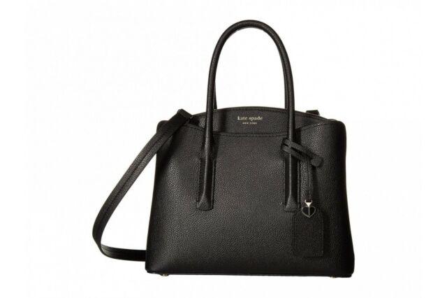 Kate Spade Margaux Medium Pebble Leather Satchel Travel Handbag Black Gift